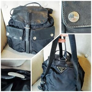 Black Prada Nylon Backpack Canvas